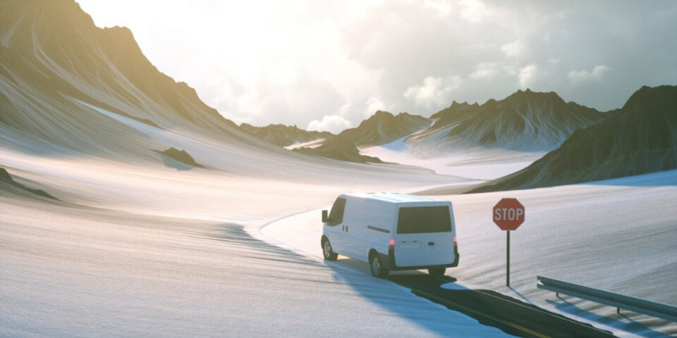 camper doing some snow driving in Iceland in a beautiful landscape