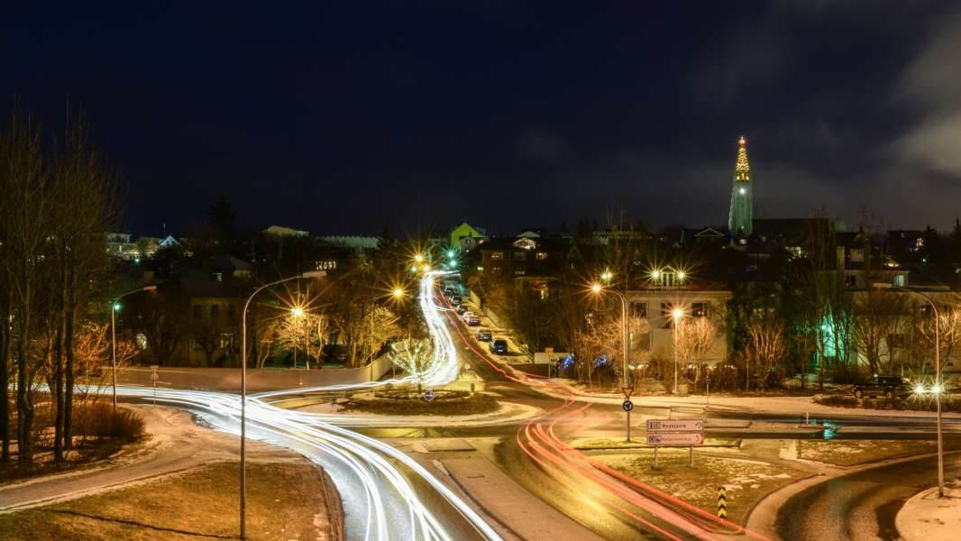 Roundabout in Iceland, Reykjavik at night