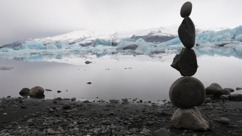 Cairn in Iceland built by a glacier